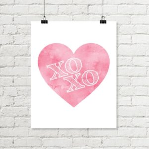 pink heart xoxo printable art