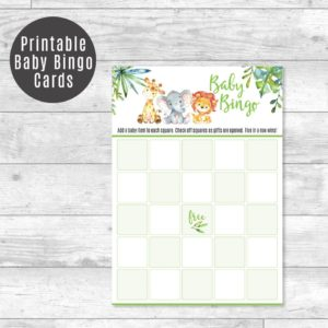Safari Bingo card printable game