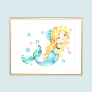 blonde mermaid printable art