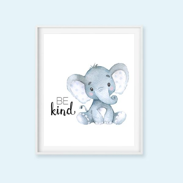 blue elephant be kind print