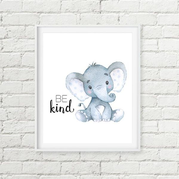 blue elephant printable art