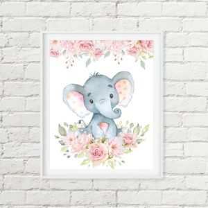 elephant flowers printable art