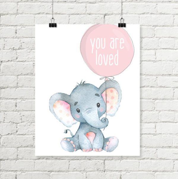 pink elephant nursery art