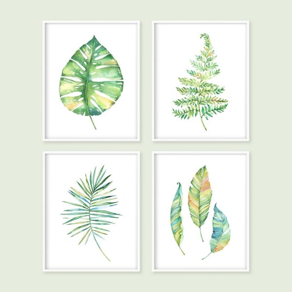 set of 4 green leaves