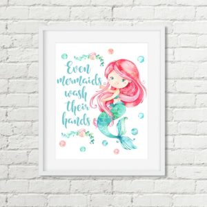pink mermaid printable art
