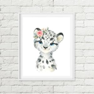snow leopard nursery art