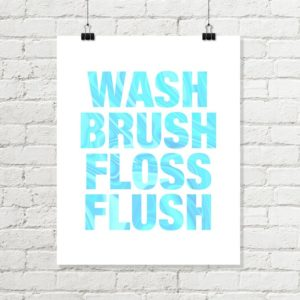 wash brush aqua bathroom art