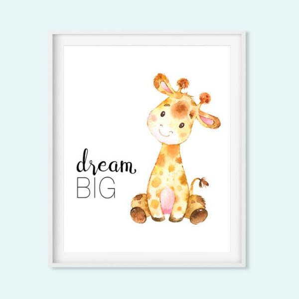 giraffe dream big nursery art