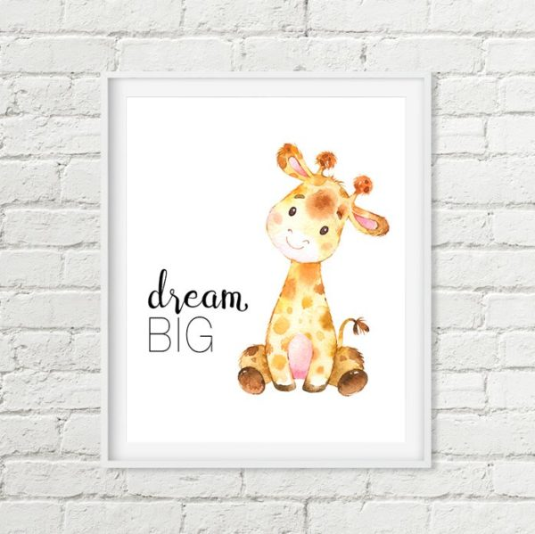 giraffe dream big printable art