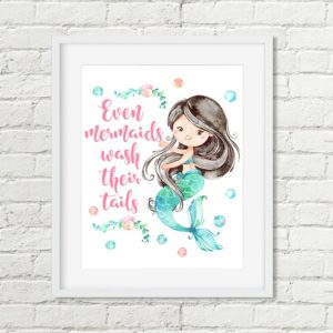 mermaid pink text printable art